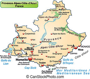 Map of Provence-Alpes-Cote d Azur as an overview map in...