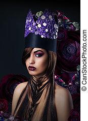 Fantasy. Fanciful Woman in Unusual Art Stylized Crown