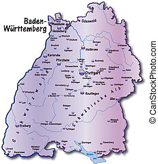 Map of Baden-Wuerttemberg as an overview map in violet