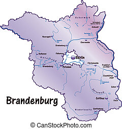 Map of Brandenburg as an overview map in violet