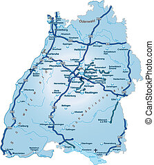 Map of Baden-Wuerttemberg with highways in blue