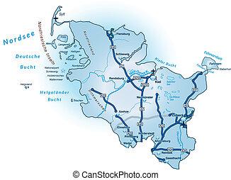 Map of Schleswig-Holstein with highways in blue