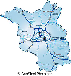 Map of Brandenburg with highways in blue