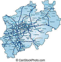 Map of North Rhine-Westphalia with highways in blue