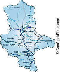 Map of Saxony-Anhalt with highways in blue