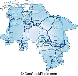 Map of Lower Saxony with highways in blue
