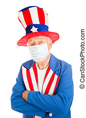 American Epidemic - American symbol Uncle Sam wearing a face...