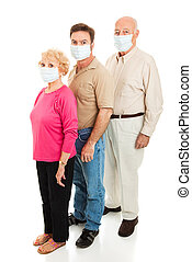 Epidemic - Wearing Face Masks - Elderly couple and their...