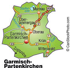 Map of Garmisch-Partenkirchen with highways