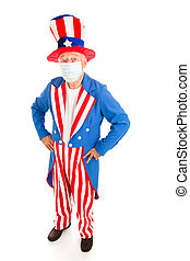 Epidemic - Uncle Sam - Uncle Sam wearing a surgical mask to...