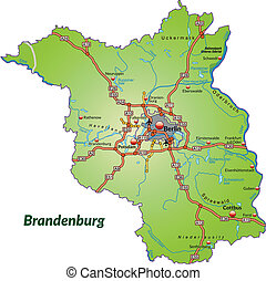 Map of Brandenburg with highways