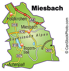 Map of miesenbach with highways