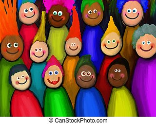 Crowd of Diverse People - Digitally painted crowd of happy...