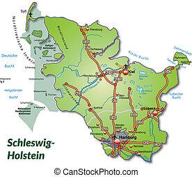 Map of Schleswig-Holstein with highways
