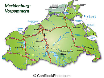 Map of Mecklenburg-Western Pomerania with highways