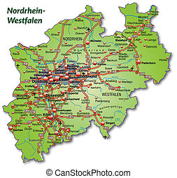 Map of North Rhine-Westphalia with highways