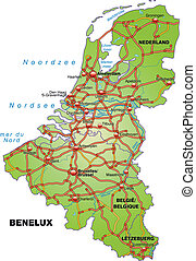 Map of Benelux