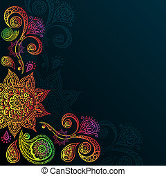 Vintage background with Mandala Indian Ornament - Indigo...
