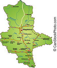 Map of Saxony-Anhalt with highways in green