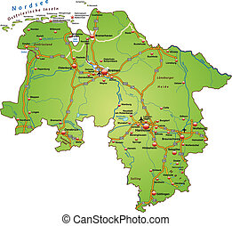 Map of Lower Saxony with highways in green