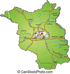 Map of Brandenburg with highways in green
