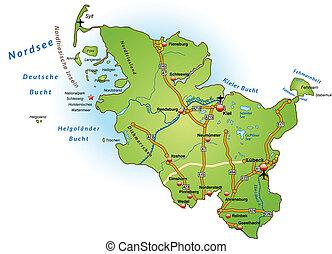 Map of Schleswig-Holstein with highways in green