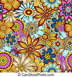 Abstract vector floral seamless background. - Unique hand...
