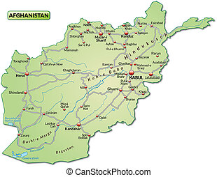 Map of Afghanistan with highways in pastel green