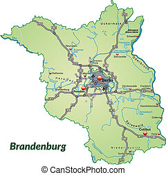 Map of Brandenburg with highways in pastel green