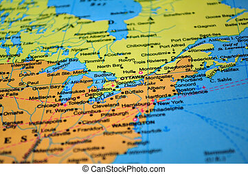 North America: map of Canada and the United States - Focus...