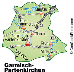 Map of Garmisch-Partenkirchen with highways in pastel green