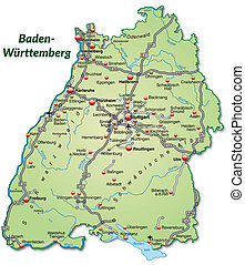 Map of Baden-Wuerttemberg with highways in pastel green