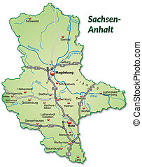 Map of Saxony-Anhalt with highways in pastel green