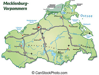 Map of Mecklenburg-Western Pomerania with highways in pastel...