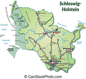 Map of Schleswig-Holstein with highways in pastel green