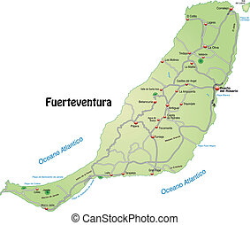Map of fuerteventura with highways in pastel green