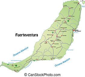 Map of fuerteventura with highways in pastel green