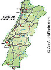 Map of Portugal with highways in pastel green