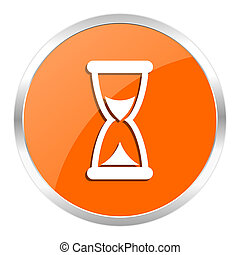 time orange glossy icon - orange web button