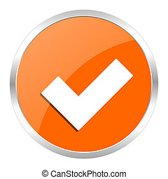 accept orange glossy icon - orange web button
