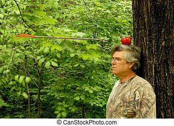 william tell revisited - man with apple on head and an arrow...