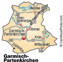 Map of Garmisch-Partenkirchen with highways in pastel orange