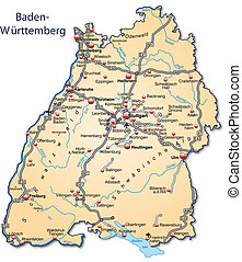 Map of Baden-Wuerttemberg with highways in pastel orange