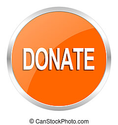 donate orange glossy icon - orange web button
