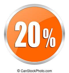 20 percent orange glossy icon - orange web button