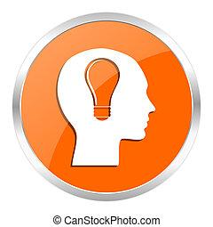 head orange glossy icon - orange web button