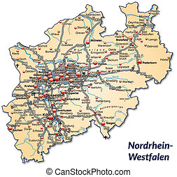 Map of North Rhine-Westphalia with highways in pastel orange