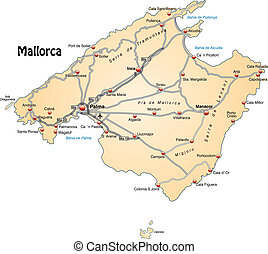 Map of mallorca with highways in pastel orange