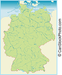 Map of Germany with aquatic Network