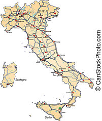 Map of Italy with highways in pastel orange